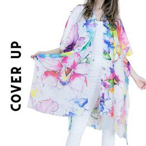 Pink Floral Chiffon Beach Swim Cover Up Top OS